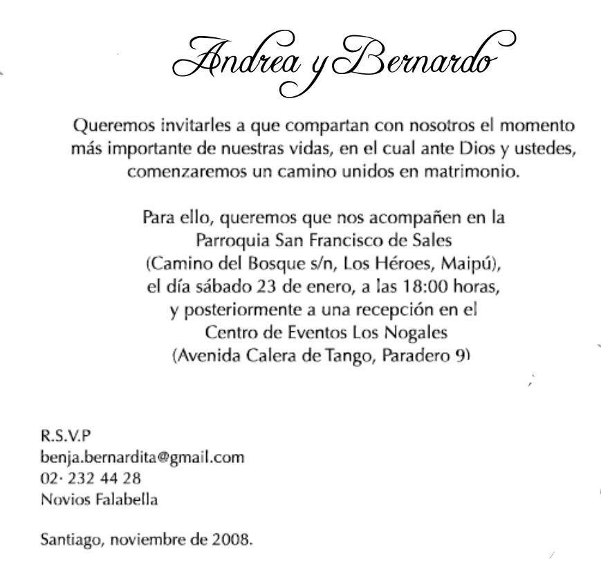 formato de invitaciones para boda